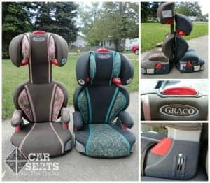 Image 1: Graco Turboboosters sit next to each other on the grass, one at the lowest and one at the highest adjustments. Image 2: graco turboboosters sit back to back showing height difference Image 3: graco label and screw