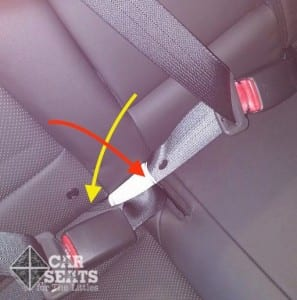 Overlapping vehicle seat belts: buckle portion of center seat belt crosses lap portion of side seat belt