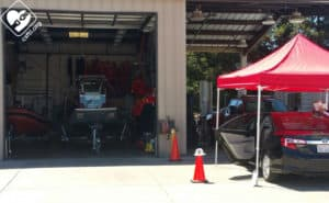 Sometimes, car seat events are held in places where rescue boats are stored!