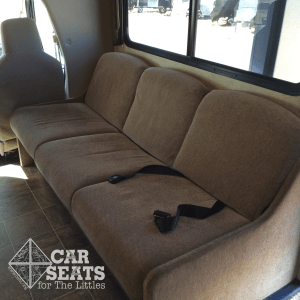 Recreational Vehicle seat belt on a couch -- these belts are NOT bolted to the vehicle's floor