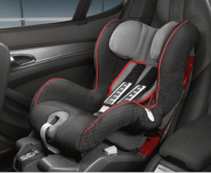 This forward facing only seat sold by Porche does not have a chest clip and is FMVSS 213 certified.