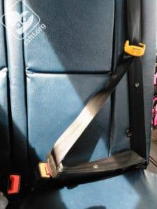 Adjustable lap-shoulder belt on a school bus