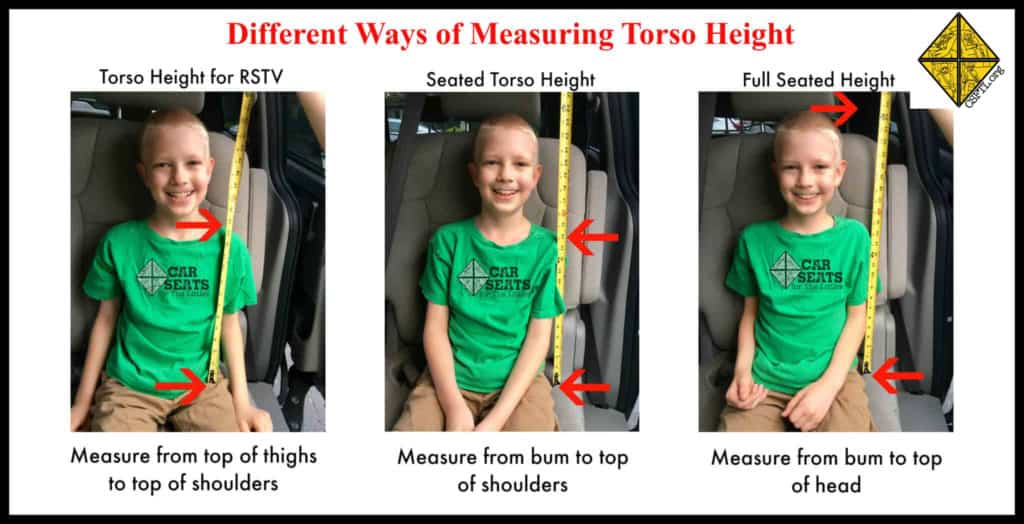 Measuring the seated height is done differently for the RSDTV than it is for most safety seats.
