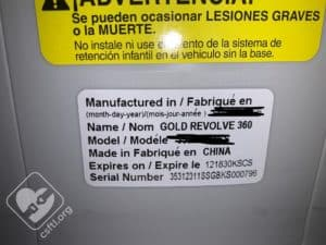 Evenflo Revolve360 date of manufacture label