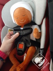 Maxi Cosi Coral XP with preemie Huggable Images doll - loose harness